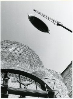 A photograph of Gala's boat installation at the courtyard of the Theatre-Museum Dalí in Figueres.