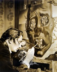 Photograph of Salvador Dalí painting one of his famous pictures.