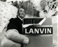 Salvador Dalí starring in the TV commercial for Lanvin chocolate, 1969