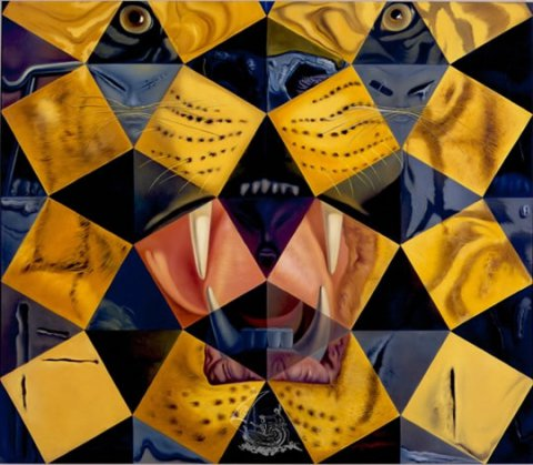 50 Abstract Paintings which Seen from Two Metres Change into Three Lenins Disguised as Chinese and Seen from Six Metres Appear as the Head of a Royal Tiger