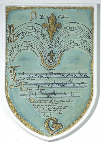 "Untitled. Coat of arms with an epigram of the musical score ""Belle, bone, sage"" by B.Cordier"