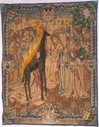 Untitled. Burning Giraffe in scene depicting the visit of the Queen of Sheba to King Salomon