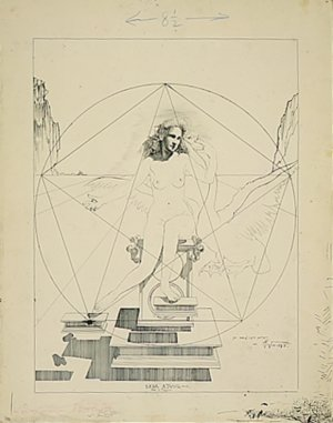 Salvador Dalí, Preparatory drawing for Atomic Leda, 1947