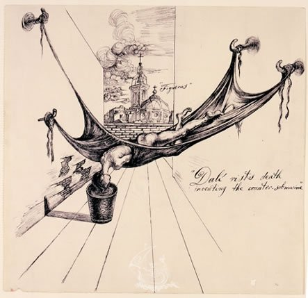 """Dalí riskes death inventing the counter-submarine"". Il·lustració per a la primera edició de ""The Secret Life of Salvador Dalí"""