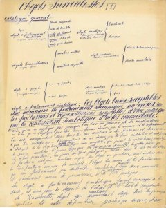 First page of the manuscript Obgets Surrealistes, from Salvador Dalí, year 1931