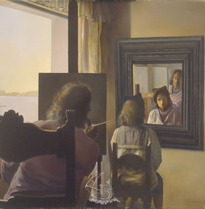 Dalí Seen from the Back Painting Gala from the Back Eternalized by Six Virtual Corneas Provisionally Reflected by Six Real Mirrors