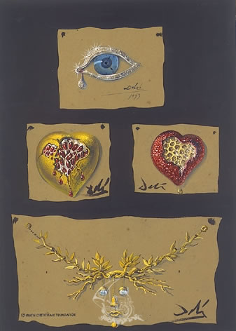 "Study for the jewels: ""The Eye of the time"", ""The Pomegranate Heart"", ""The Honeycomb Heart"" and ""The Tree of Life Necklace"""