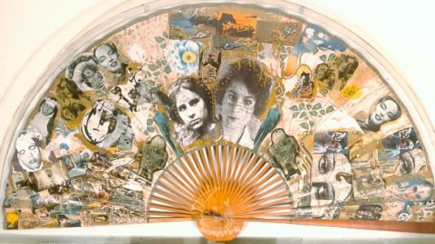 Fan-shaped collage made by Salvador Dalí in collaboration with Amanda Lear