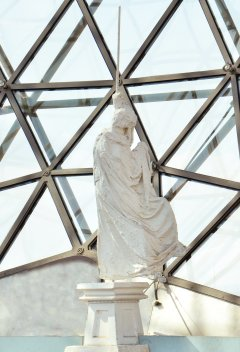 Figure on the geodesic dome. Figure with Stick. 1974. Plaster. Dalí Theatre-Museum, Figueres
