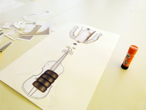 Glue the pictures onto the card to create your surrealist musical instrument.