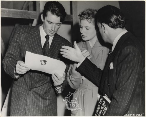 Picture by Madison Lacy. Gregory Peck, Ingrid Bergman and Salvador Dalí during the filming of Alfred Hitchcock's <em>Spellbound</em>, 1945
