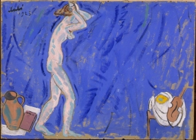 Female Nude in a Blue Background