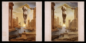 Dalí's Hand Drawing Back the Golden Fleece in the Form of a Cloud To Show Gala the Dawn Completely Nude, Very, Very Far Away Behind the Sun. Stereoscopic work
