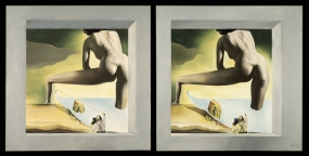 Dalí Lifting the Skin of the Mediterranean Sea to Show Gala the Birth of Venus. Stereoscopic work