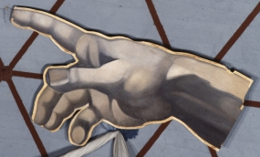 "Untitled. After ""The Creation of Adam"" by Michelangelo in the Sistine Chapel (God's hand)"