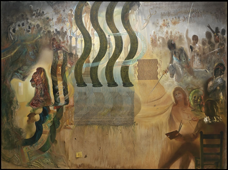Salvador Dali in the Act of Painting Gala in the 'Apotheosis of the Dollar', on the Left of Whom One Can See Marcel Duchamp Disguised as Louis XIV behind a Vermeerian Curtain, Which Is Not a Curtain but the Invisible yet Monumental Face of 'Hermes' by Praxiteles