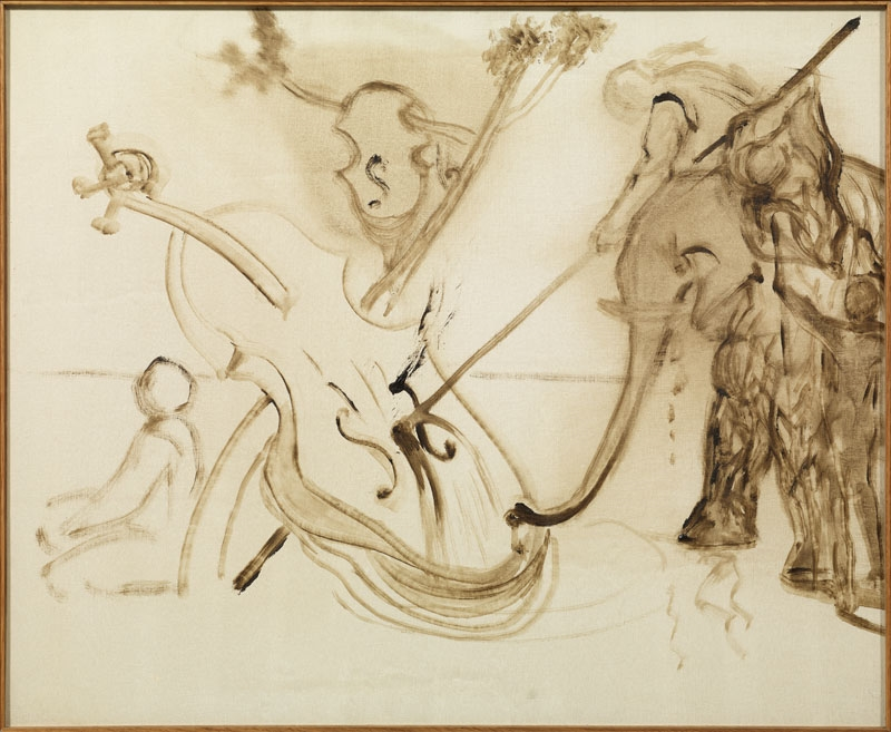 Untitled. Figure on an Elephant Attacking a Cello (unfinished)
